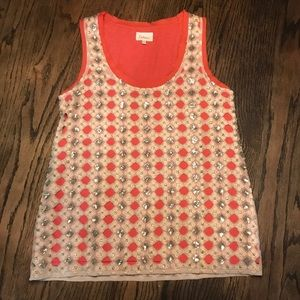 Deletta by Anthro Sparkle Overlay Tank Size S